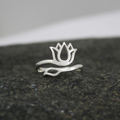 Adjustable sterling silver  lotus ring