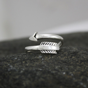 Adjustable sterling silver arrow ring