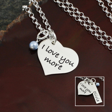 "Sterling Silver ""I Love You More"" necklace.  Personalize it by adding a name bar, then add a date to the back to commemorate a special occasion!"