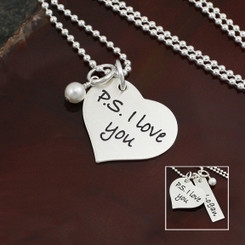 "Sterling Silver ""P.S. I Love You"" necklace"