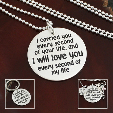 I Carried You Memorial Necklace or Key Ring