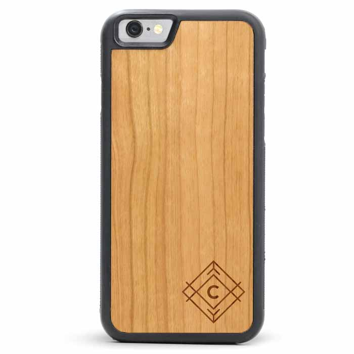 iPhone 8 plus Leather Wallet Case Wood
