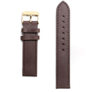 Tmbr Dark Brown Leather Watch Strap / Gold Clasp