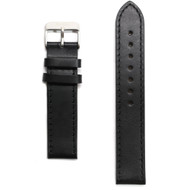 Black Leather Watch Strap / Silver Clasp
