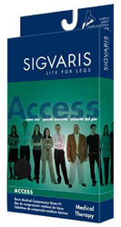 Sigvaris 972N Access 20-30 mmHg Closed Toe Thigh High Compression Stockings with Silicone Border for Women