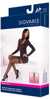 Sigvaris 781N EverSheer 15-20 mmHg Closed Toe Thigh High Compression Stockings with Lace Silicone Border for Women