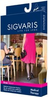 Sigvaris 783N EverSheer 30-40 mmHg Open Toe Thigh High Compression Stockings with Lace Silicone Border for Women