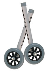 """5"""" Gray Walker Wheels with Two Sets of Rear Glides for Use with Universal Walker - 10128"""
