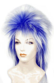 punk rock clown blue and white wig