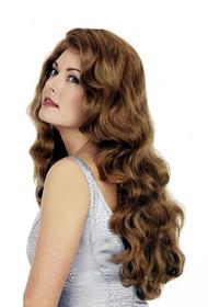 long wavy golden brown real human hair wig