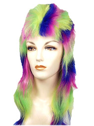 Rainbow Punk Mullet Wig multi-color