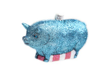 Blue Pig Glass Ornament