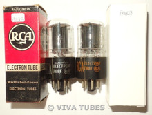 NOS In Box Matched Pair RCA USA 12SN7GT Flat Off-Set Black Plate Vacuum Tubes
