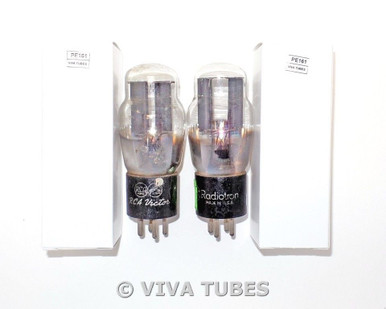 Date Matched Pair RCA USA Type 80 Black 2 Plate 42/44 & 44/44 Vacuum Tubes