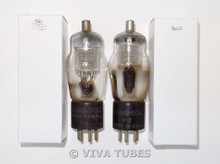 NOS Matched Pair Tung-Sol Type 24 Silver Mesh Plate ENGRAVED Vacuum Tubes