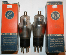 Date Matched Pair RCA Cunningham USA 79 Black Plate Engraved Tested Tube 69%