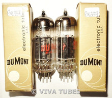 NIB NOS Date Matched Pair Dumont USA 12BZ7 [12AX7 Sub] Black Plate Vacuum Tubes