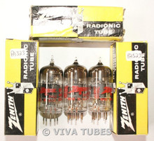 NOS NIB Date Matched Trio (3) Zenith USA 6CL8A Gray Plate Top O Get Vacuum Tubes