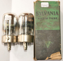 NOS NIB Date Matched Pair Sylvania USA 7K7 Black Plate Chrome Dome Vacuum Tube