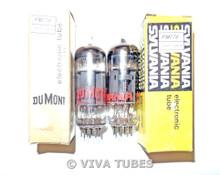 NIB NOS Matched Pair Sylvania 6AW8A Gray Plate Bridged Filaments Vacuum Tubes