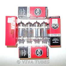 Matched Quad (4) RCA USA 6AW8A Bridged Filaments Vacuum Tubes 90%