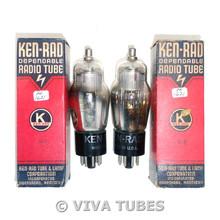 NOS NIB Date Matched Pair Ken-Rad USA 6B8G Silver Small Mesh Plate Vacuum Tubes