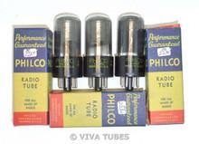 NOS NIB Date Matched Trio (3) Philco USA 6SA7GT Silver Plate Smoked Vacuum Tubes