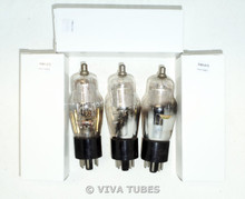 NOS Matched Trio 3 Super Silvertone 6K7G Silver Mesh Plate Engraved Vacuum Tubes