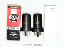 NIB NOS Matched Pair RCA Radiotron USA 6SF5 Metal Light Rust Vacuum Tubes 100+%