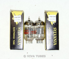 NOS NIB Matched Pair Sylvania USA 6U8A/6KD8 Gray Plate Top O Get Vacuum Tubes