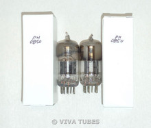 NOS Matched Pair Vintage USA 12AT7=ECC81 Black Plate Top [] Get Vacuum Tubes