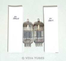 NOS Matched Pair Vintage USA 12AT7 ECC81 Grey 2 Plate Top Fat D Get Vacuum Tubes