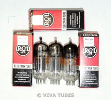 NOS NIB Date Matched Trio (3) RCA USA 12B4A Black Plate Fat D Get Vacuum Tubes