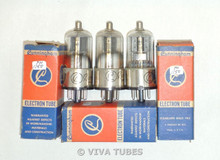 NOS NIB Date Matched Trio (3) RCA Cunningham USA 12Q7GT Grey Plate Vacuum Tubes