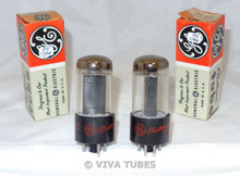 NOS NIB Date Matched Pair GE USA 25L6GT Black Box Plate Top O Get Vacuum Tubes
