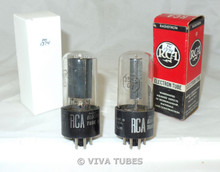 NOS NIB Date Matched Pair RCA USA 35L6GT Black Box Plate Vacuum Tubes