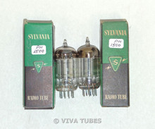 Date Matched Pair Sylvania USA 19T8 Silver Plate Top [] Get Vacuum Tubes 77%