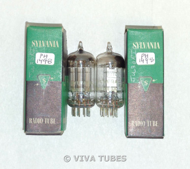 NIB NOS Date Matched Pair Sylvania USA 19T8 Silver Plate Top [] Get Vacuum Tubes