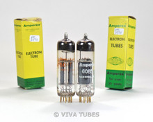 NOS NIB Matched Pair Amperex PQ Holland 6085 / E80CC Gold Pins Vacuum Tubes
