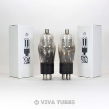 NOS Matched Pair NU USA Type 24A Silver Mesh Plate ENGRAVED Vacuum Tubes