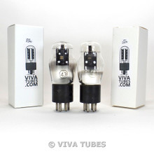 Matched Pair RCA Cunningham USA Type 43 Black Plate ENGRAVED Vacuum Tubes 90%