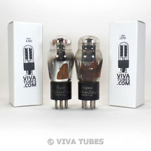 Matched Pair Super Silvertone USA Type 43 Black Plate Vacuum Tubes 90%