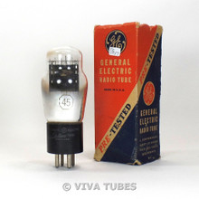 True NOS NIB GE USA Type 45 Black Plate D Foil Get Vacuum Tube 100+%