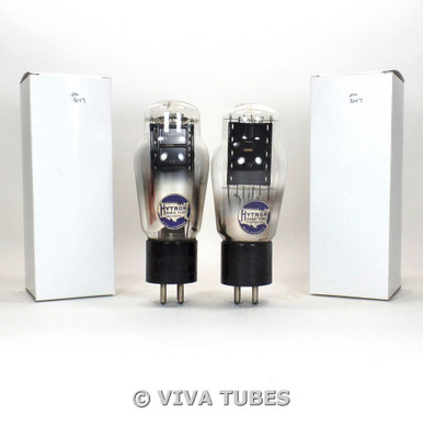 Date Matched Pair Hytron Type 50 Black Plate ENGRAVED Rattle Vacuum Tubes 80%