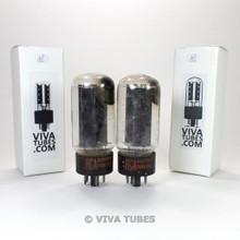 Matched Pair RCA USA 5U4GB Black Plate Vacuum Tubes Test = 48/48 & 48/50