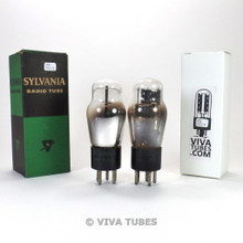 Tests NOS Date Matched Pair Sylvania USA 84/6Z4 Black Plate 3 Mica Vacuum Tubes