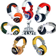 iHip Official Licensed NFL Pro DJ Headphones with Inline Volume Control