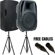 American Audio ELS-15BT + ELS-15A Bundle (with Speaker Stands and Cables)