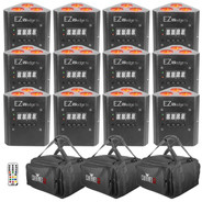 (12) Chauvet DJ EZWedge Tri Rechargeable LED Uplights & Carry Bags Package