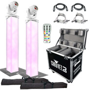 (2) Chauvet DJ Intimidator Spot 355 IRC Moving Heads in White with 6.5' Truss Lighting Towers & Intimidator Road Case S35X Package
